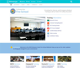 Image of the State Fire School's new CLF4 website