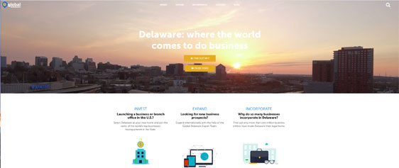 Image of the new Global Delaware website