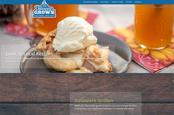 Image of the new Delaware Grown responsive website