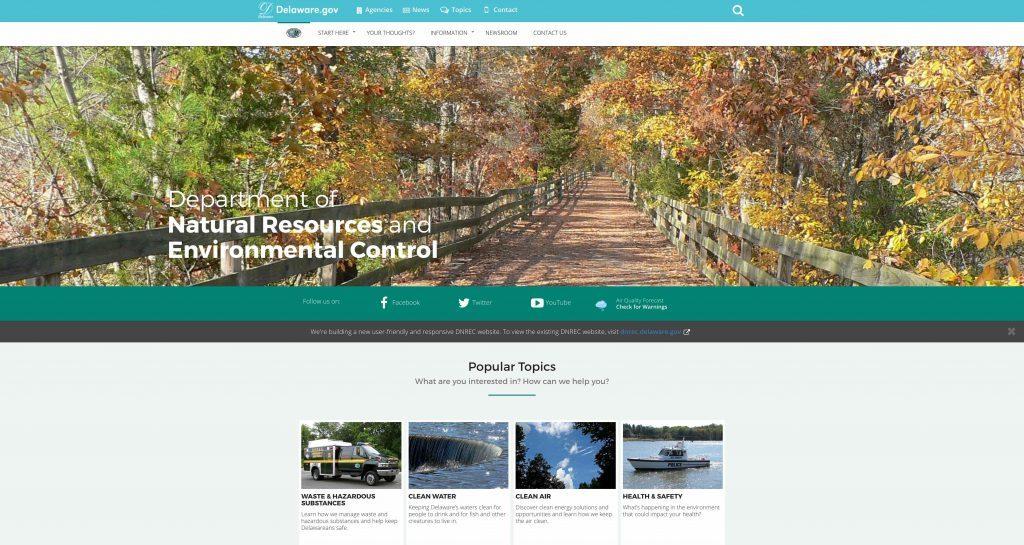 DNREC's website home page.