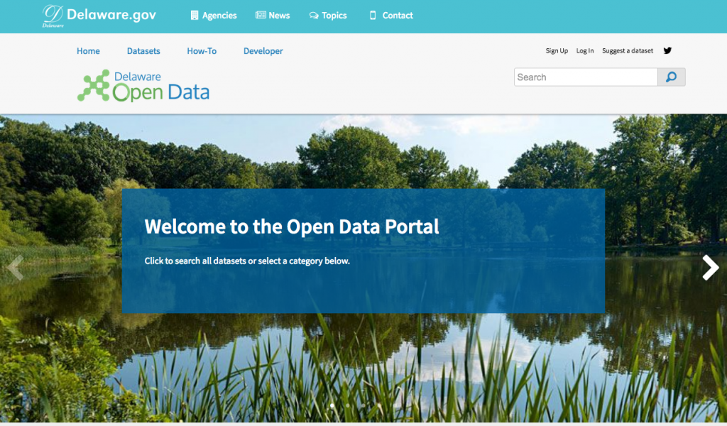 Photo of the home page of the open data portal
