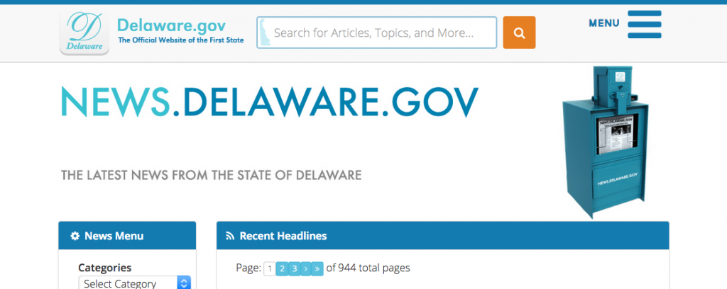 Photo of the home page of the centralized news website