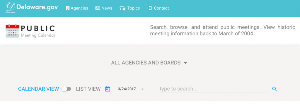 Photo of the home page of the Public Meeting Calendar