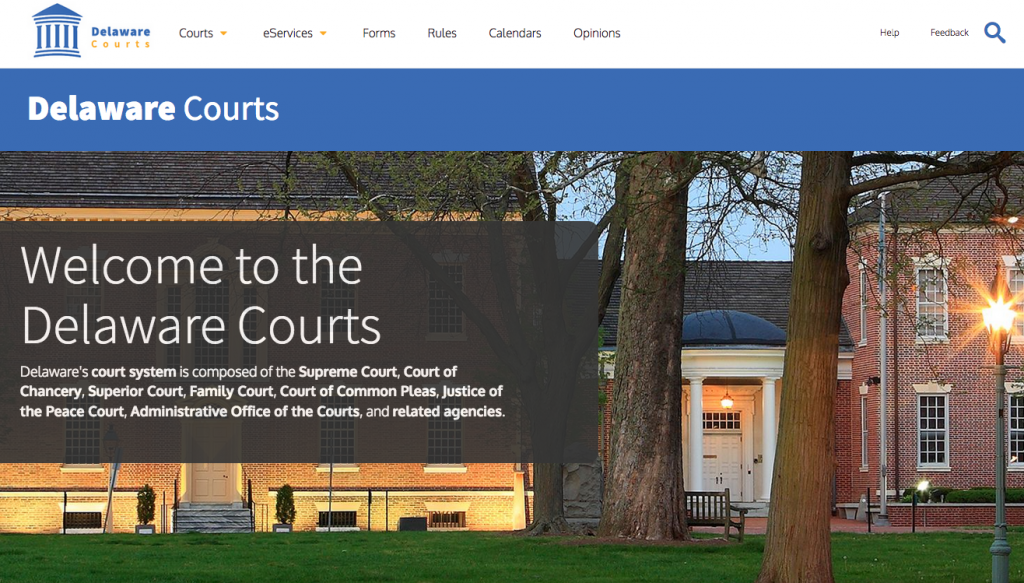 Photo of the Delaware Courts website