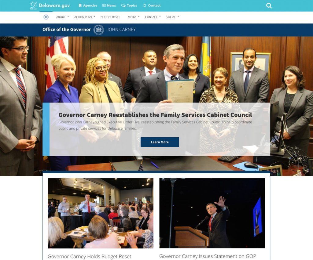 Picture of Governor John Carney's CLF 4 website
