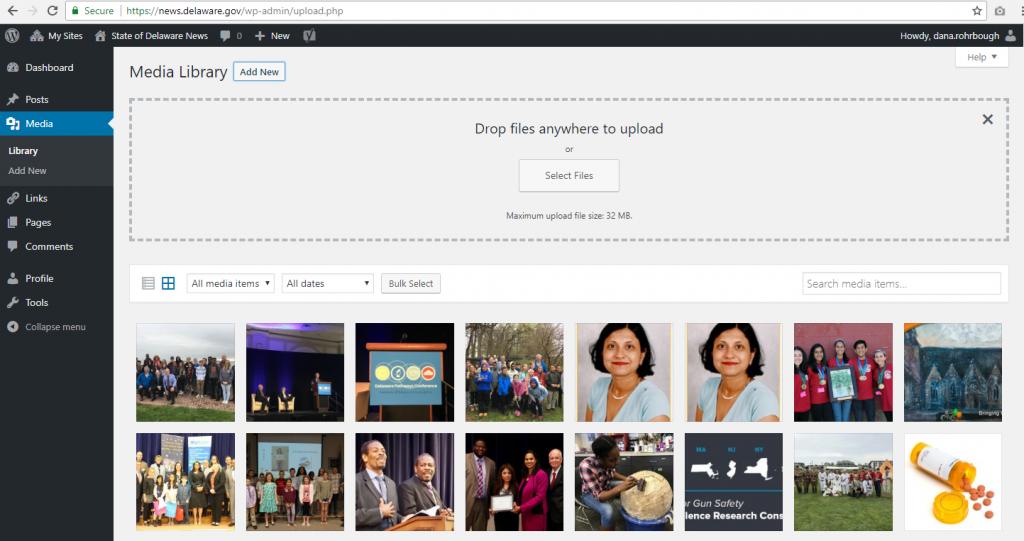 Screenshot of the WordPress media gallery