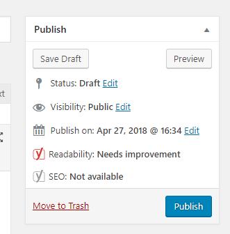 Screenshot of the publish options in WordPress