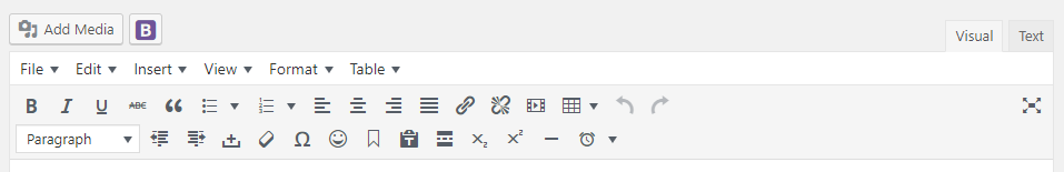 Screenshot of the WordPress Visual Editor Toolbar