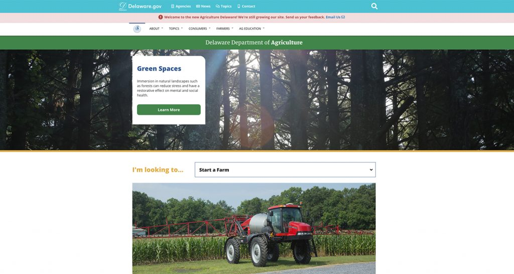 Image of the Delaware Department of Agriculture homepage
