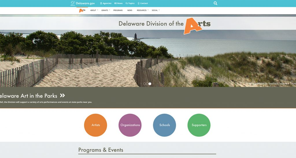 Image of the Delaware Division of the Arts homepage