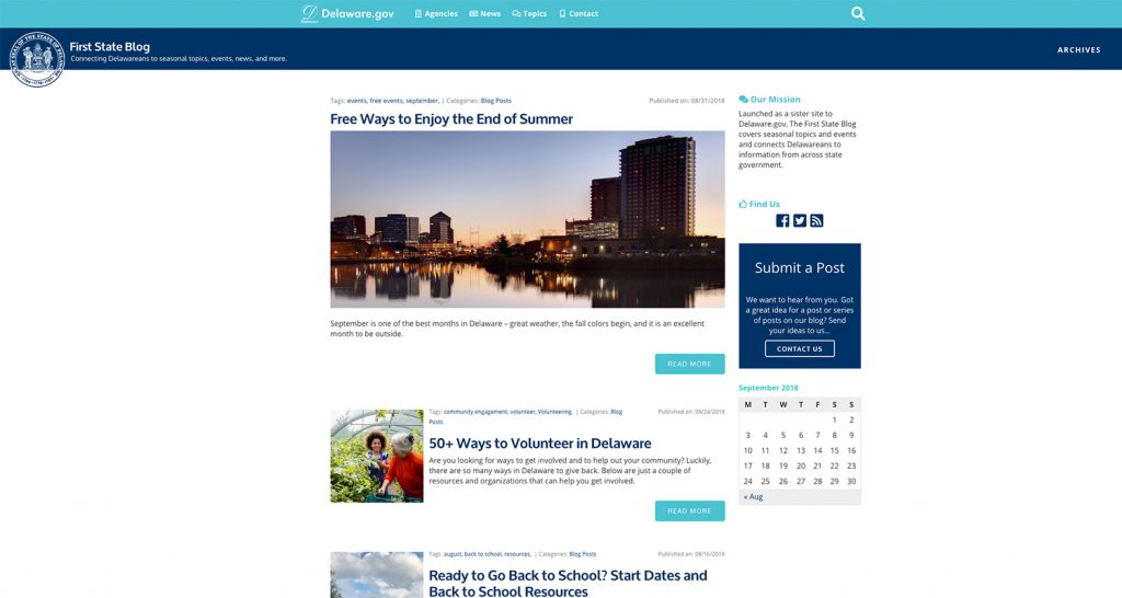 Image of the First State blog homepage