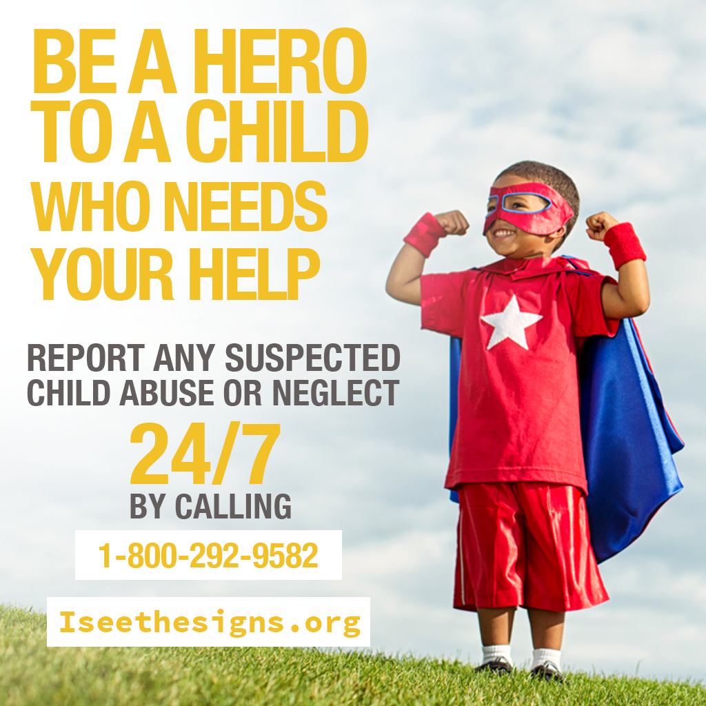 Image of a boy in super hero clothes for Child Abuse Prevention Month
