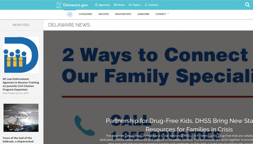 Photo of home page for news.delaware.gov.