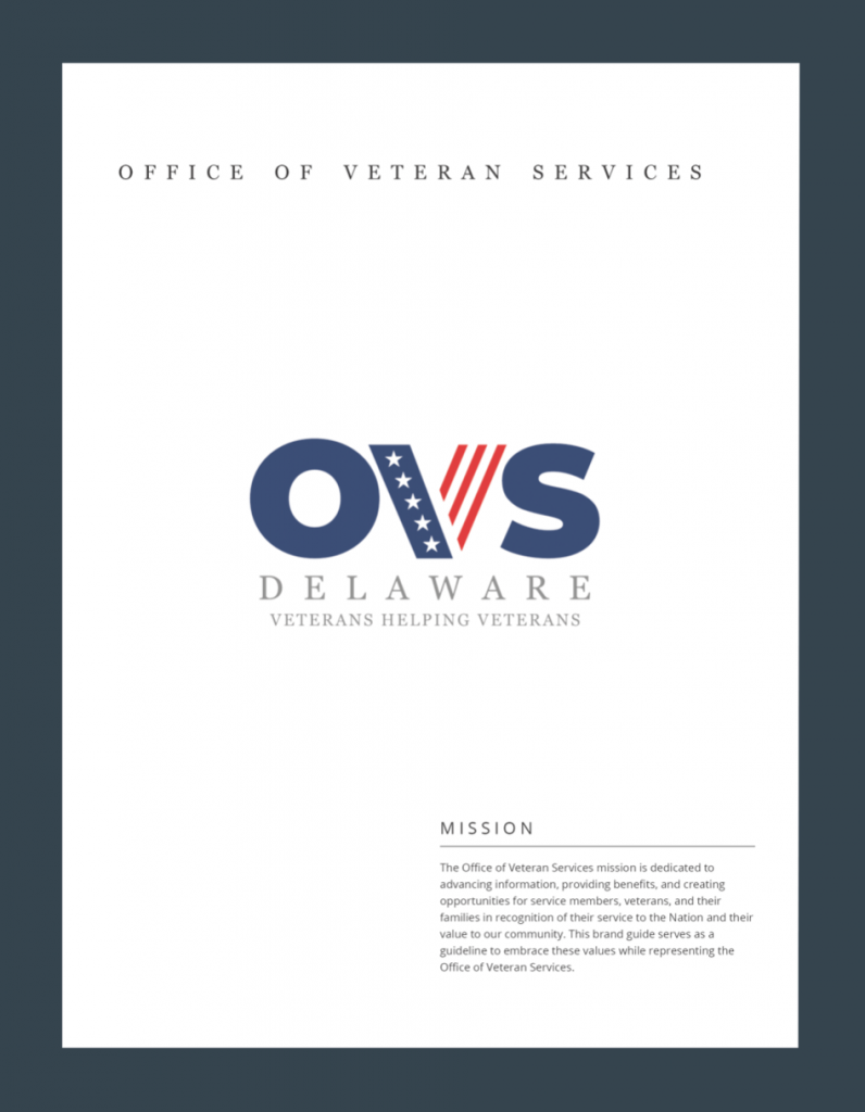 Office of Veterans Services Brand Guide Cover Page
