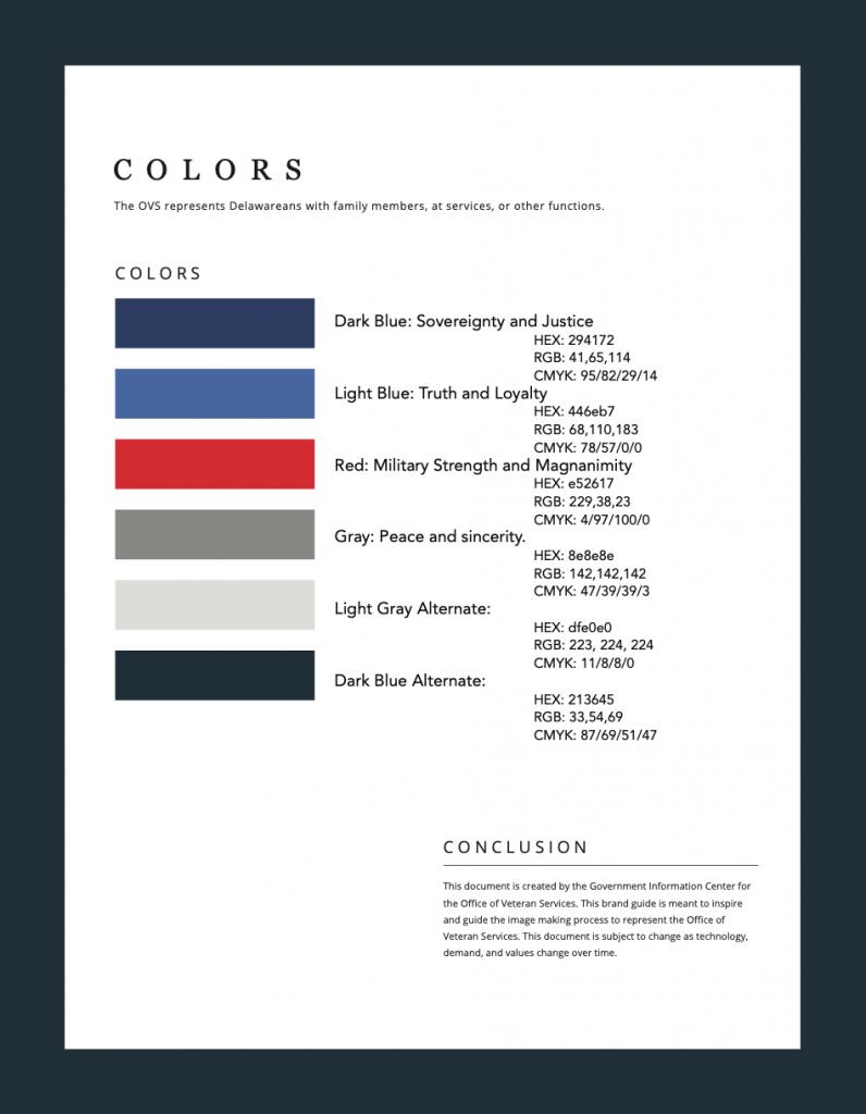 Office of Veterans Services Branding - Color Palette