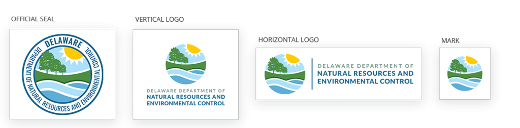 The Delaware Department of Natural Resources and Environmental Control all logos are in view, the official seal, vertical logo, horizontal logo, and the logo mark.