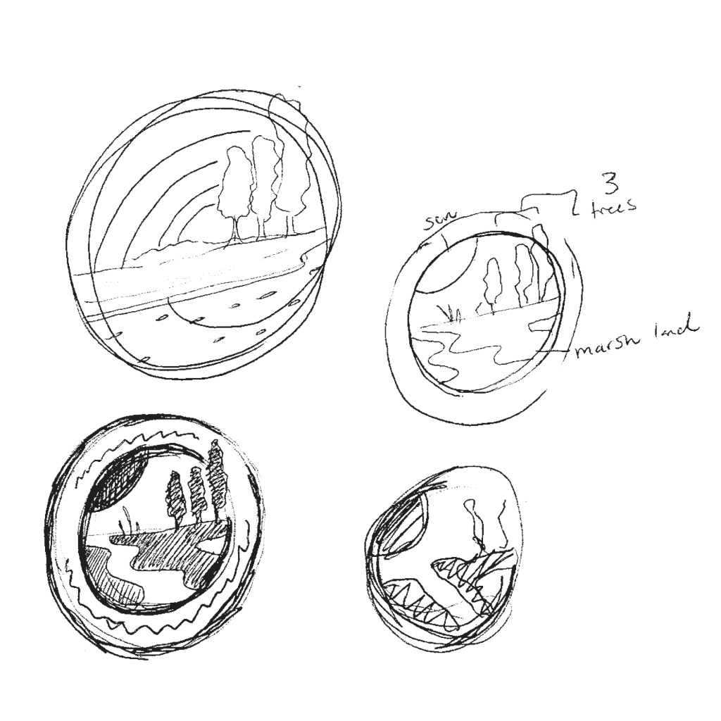 an in process sketch of The Delaware Department of Natural Resources and Environmental Control logo redesign process