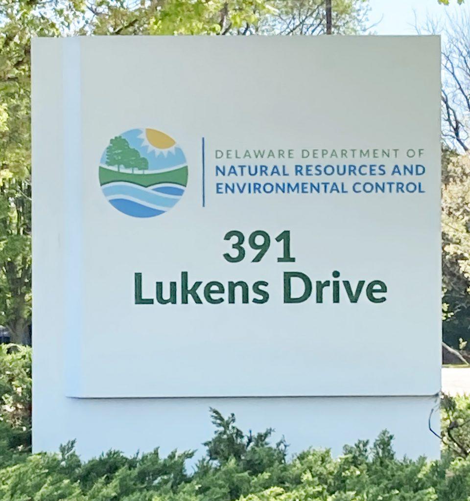 Lukens Drive DNREC signage with new logo