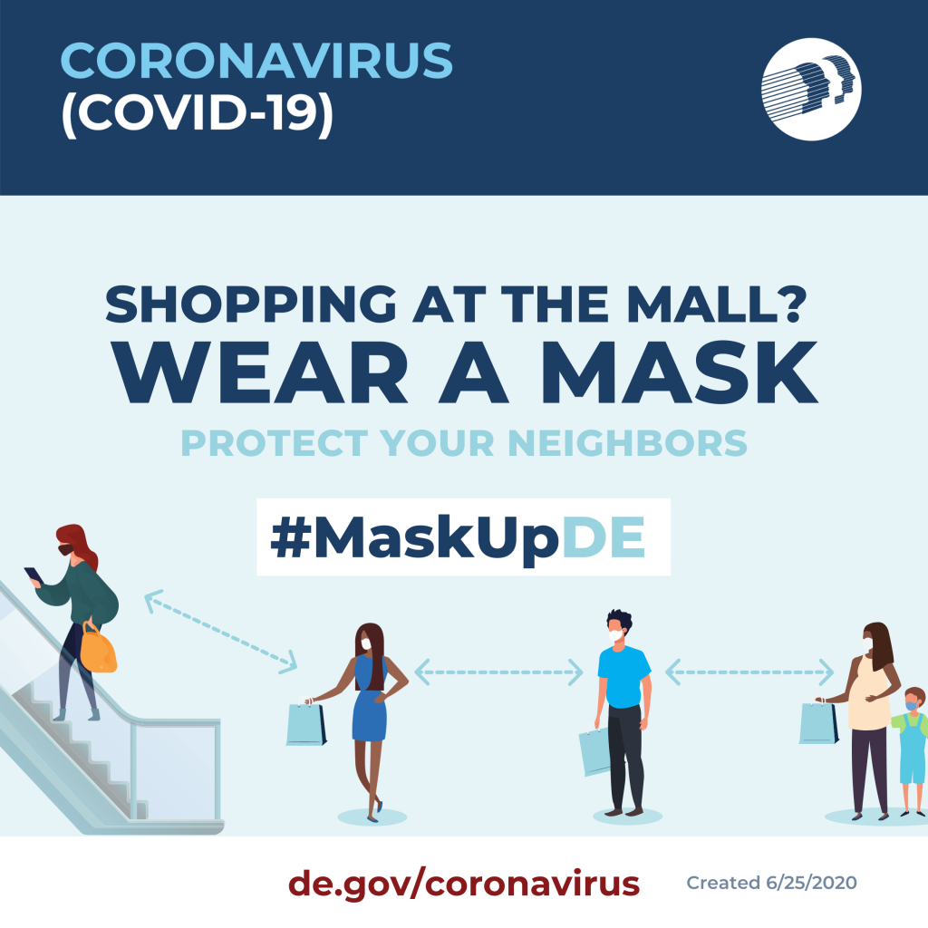 Shopping at the mall? Wear a mask. Social Graphic