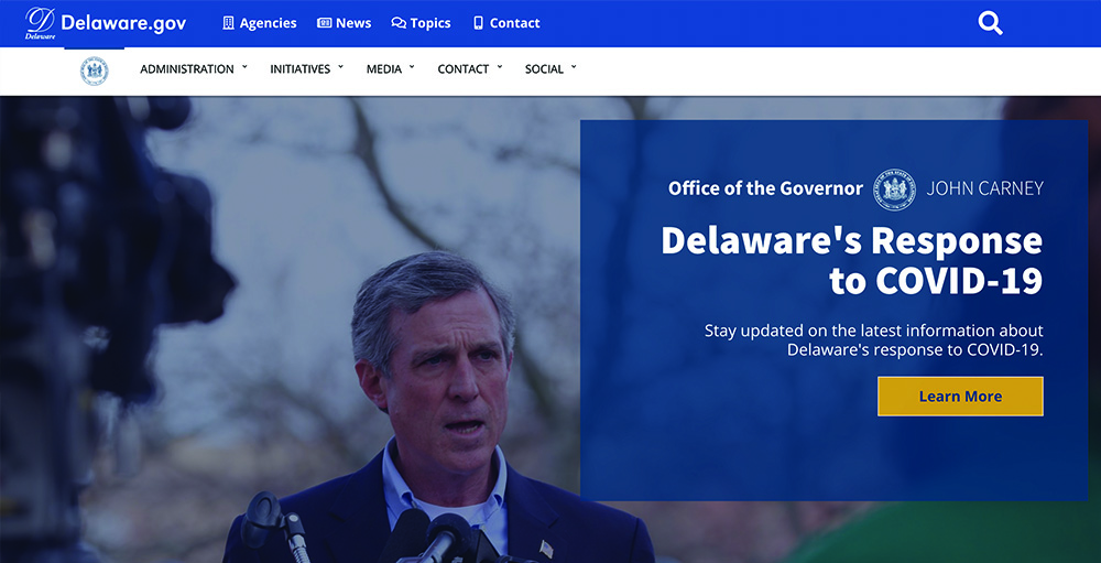 Governor Carney's website homepage