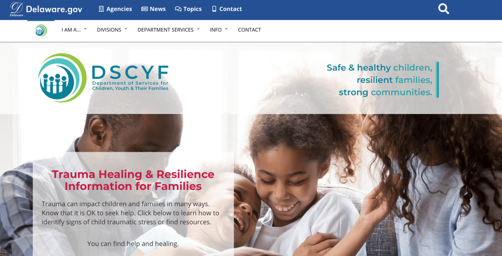 DSCYF/Kids website home page. Two parents and kids embracing.