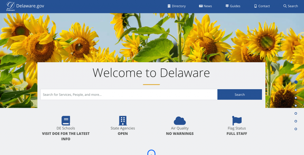Delaware.gov Portal homepage. Vibrant sunflowers, large search bar and Welcome to Delaware message.