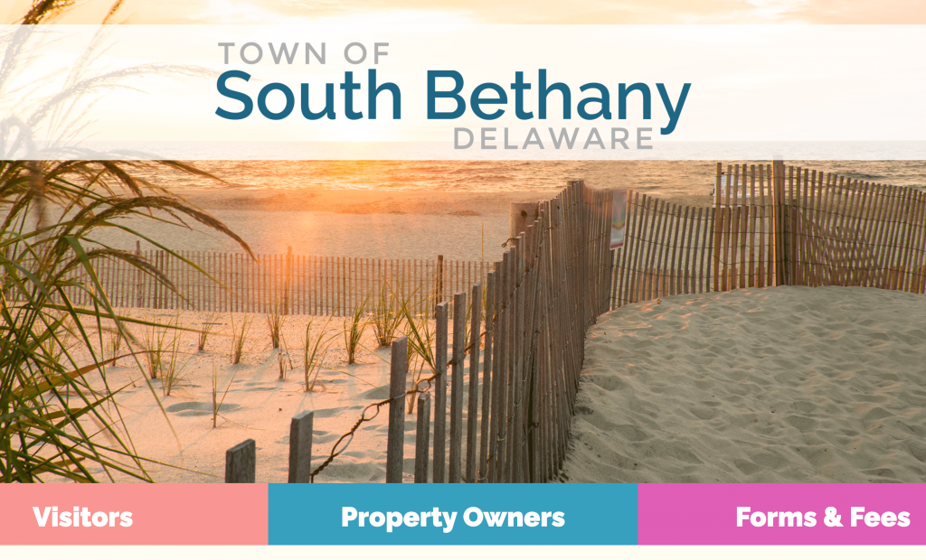 South Bethany Homepage. Showcasing the beautiful beach in South Bethany and links to popular services and information.