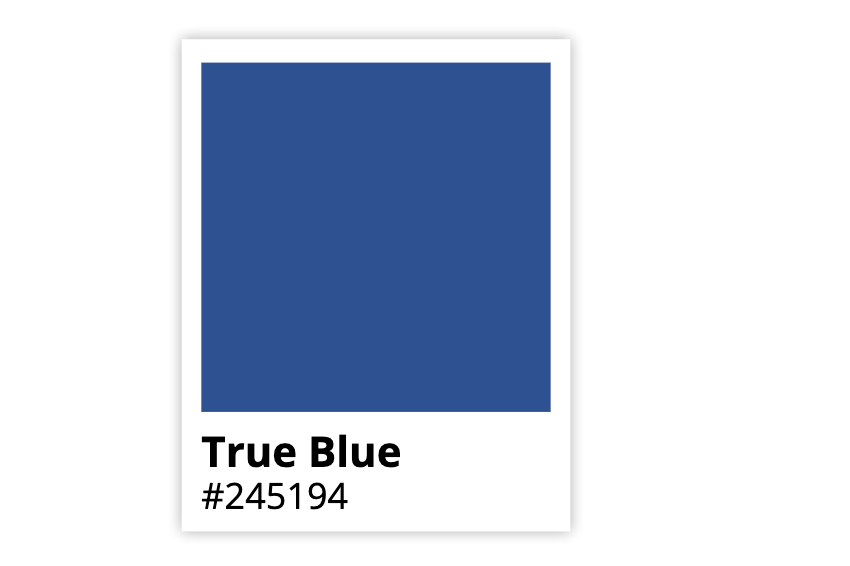 True Blue swatch displaying the hex code