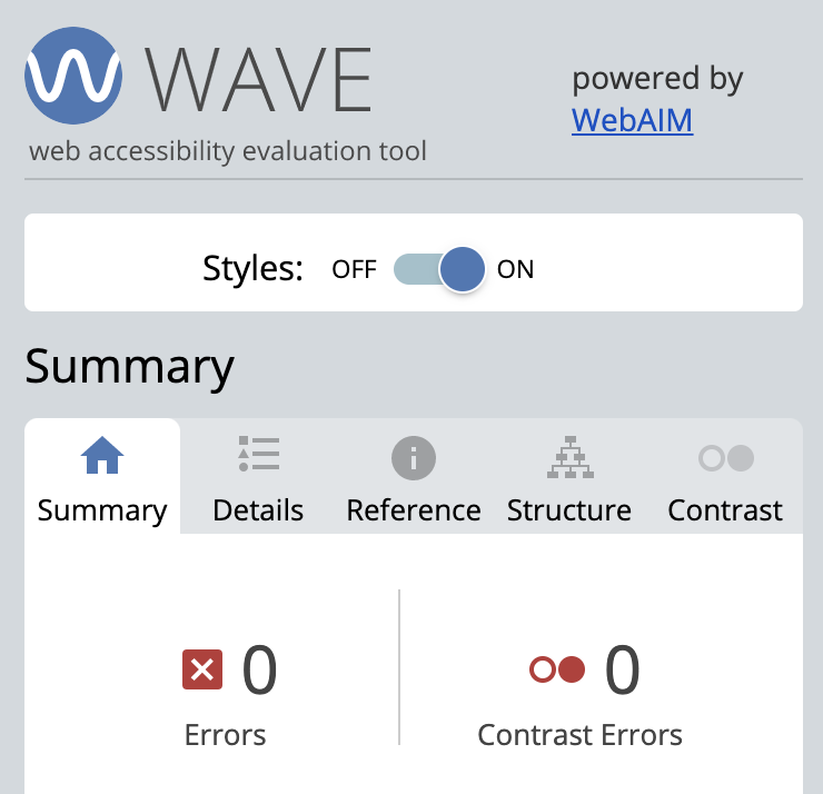 WAVE Accessibility screenshot with zero errors.