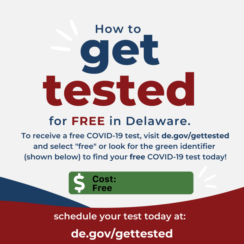 """Illustrative graphic on how to get tested for free n Delaware.  To receive a free COVID-19 test, visit de.gov/gettested and select """"free"""" or look for the green identifier to find your free COVID-10 test today!"""